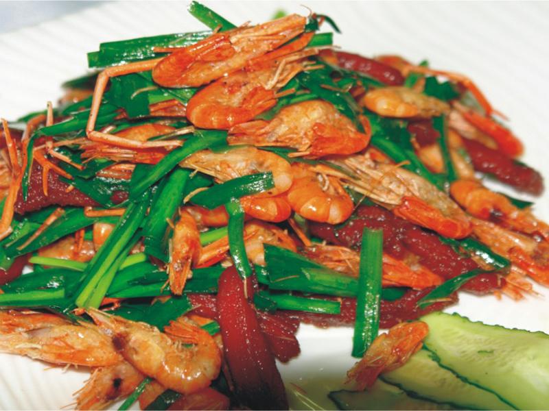 韭菜河蝦爆牛柳